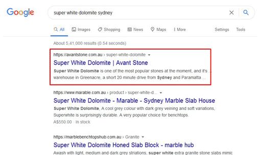 Avant Stone Website Google Results